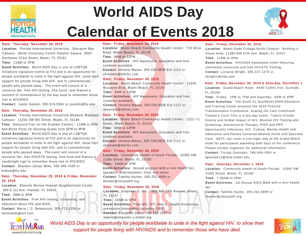 world aids day calendar of events